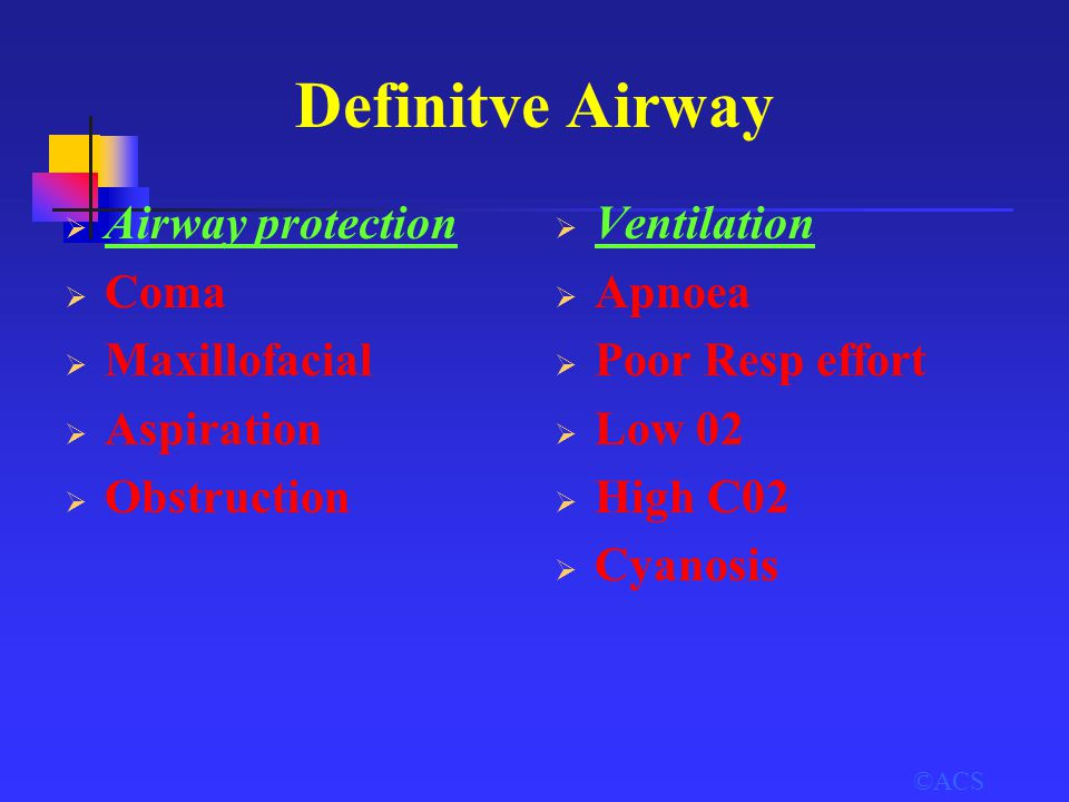 ©ACS Definitve Airway  Airway protection  Coma  Maxillofacial  Aspiration  Obstruction  Ventilation  Apnoea  Poor Resp effort  Low 02  High
