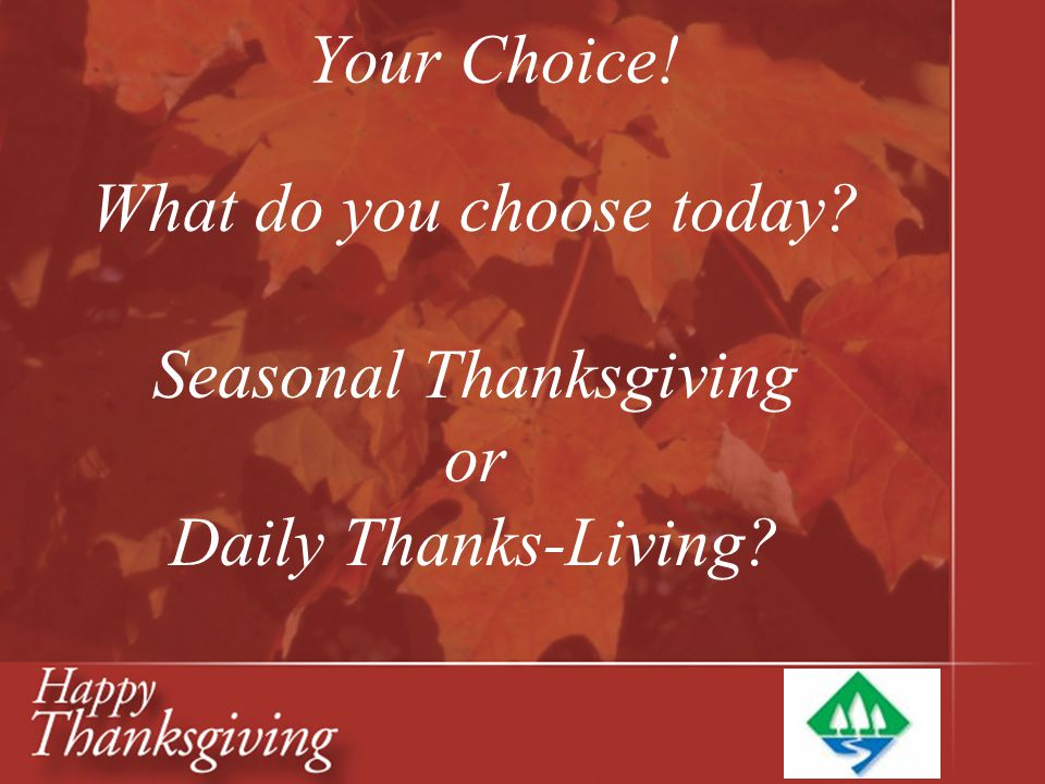 Your Choice! What do you choose today? Seasonal Thanksgiving or Daily Thanks-Living?