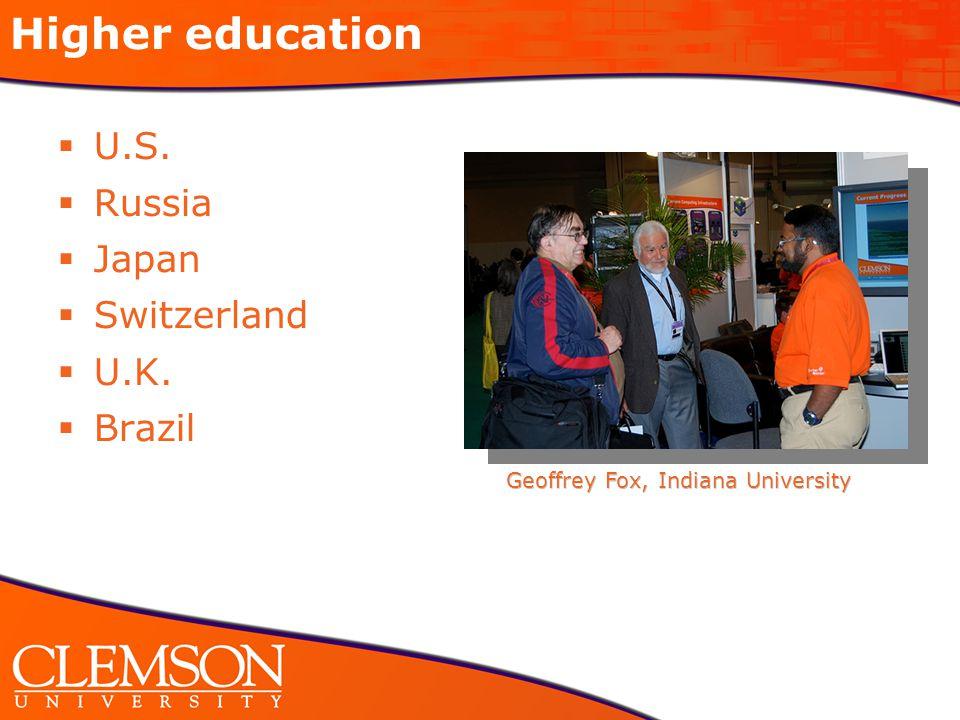 Higher education  U.S.  Russia  Japan  Switzerland  U.K.