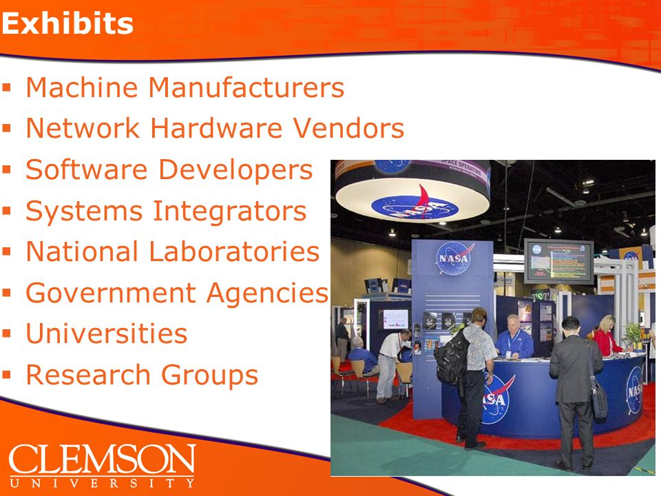 Goals for Clemson SC08 presence  Increase the numbers of Clemson participants across conference tracks  Feature Clemson research in the South Carolina exhibit booth  Connect with the many Clemson alumni who are employed throughout the HPC industry  Feature Clemson grad and undergrad research