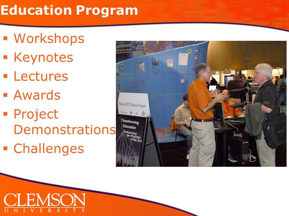 Education Program  Workshops  Keynotes  Lectures  Awards  Project Demonstrations  Challenges
