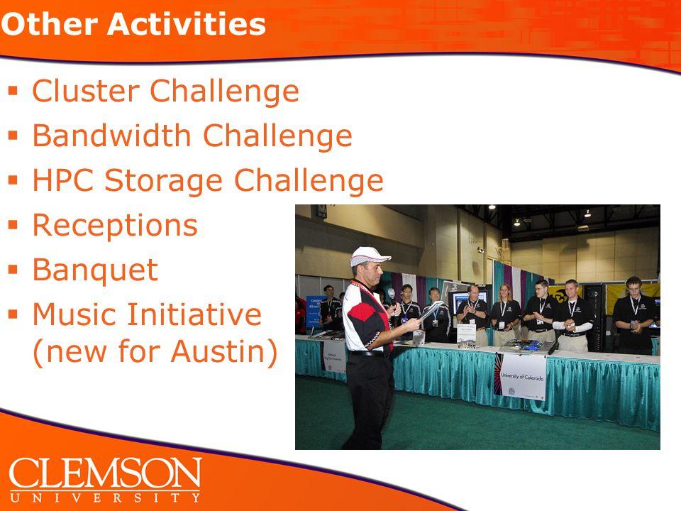 Other Activities  Cluster Challenge  Bandwidth Challenge  HPC Storage Challenge  Receptions  Banquet  Music Initiative (new for Austin) 