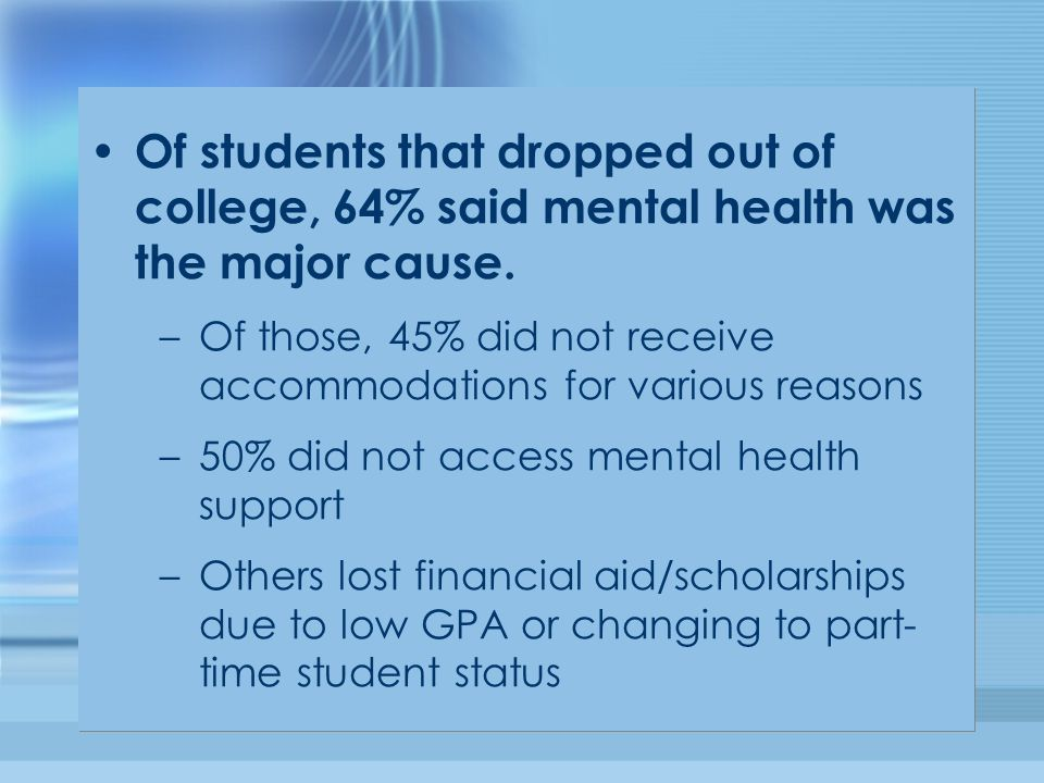 Of students that dropped out of college, 64% said mental health was the major cause. –Of those, 45% did not receive accommodations for various reasons