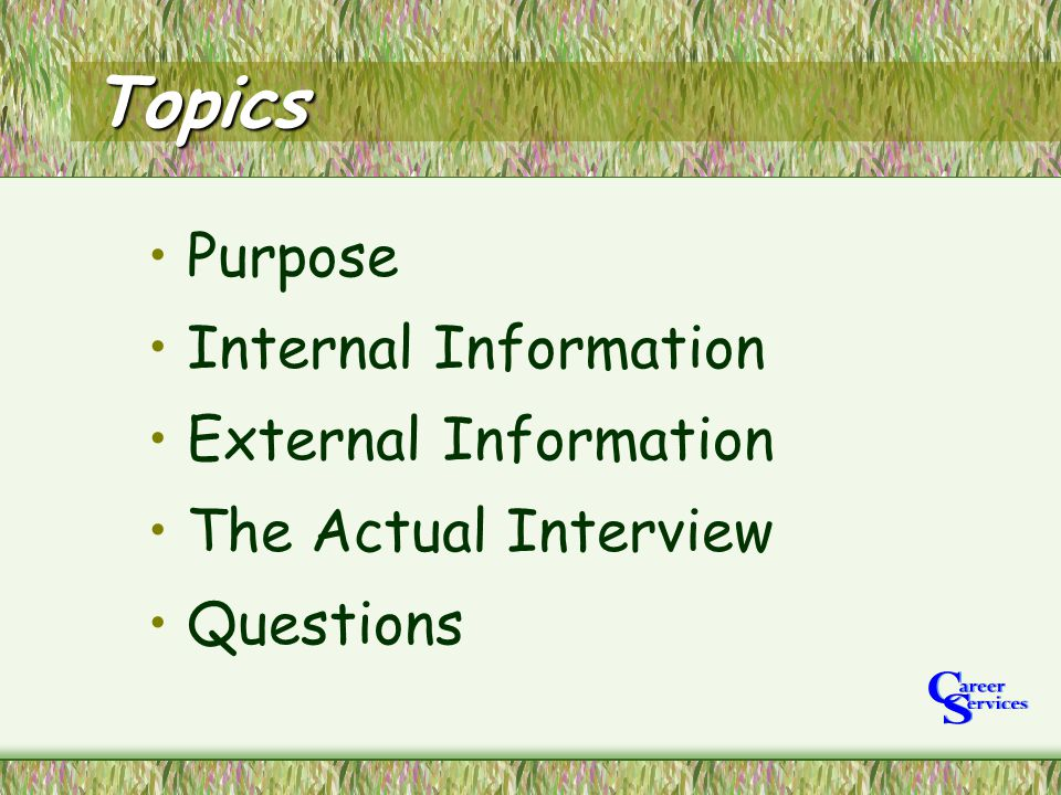 Topics Purpose Internal Information External Information The Actual Interview Questions