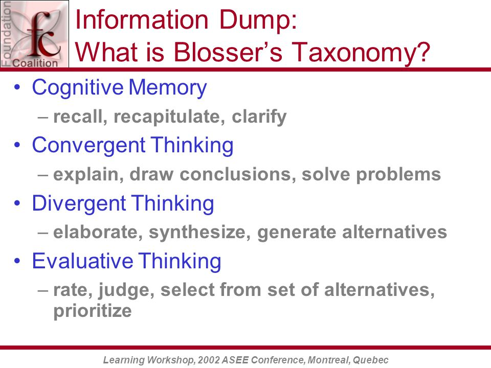 Learning Workshop, 2002 ASEE Conference, Montreal, Quebec Information Dump: What is Blosser's Taxonomy.