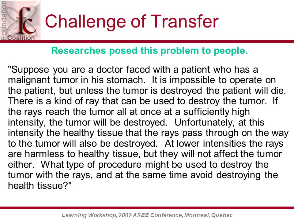 Learning Workshop, 2002 ASEE Conference, Montreal, Quebec Challenge of Transfer Researches posed this problem to people.
