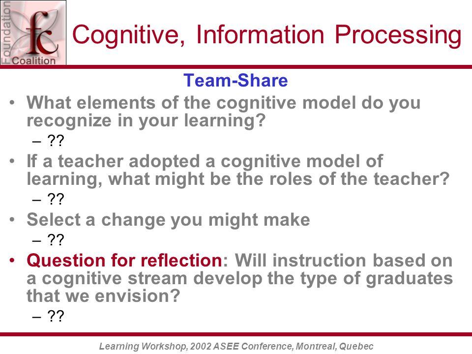 Learning Workshop, 2002 ASEE Conference, Montreal, Quebec Cognitive, Information Processing Team-Share What elements of the cognitive model do you recognize in your learning.