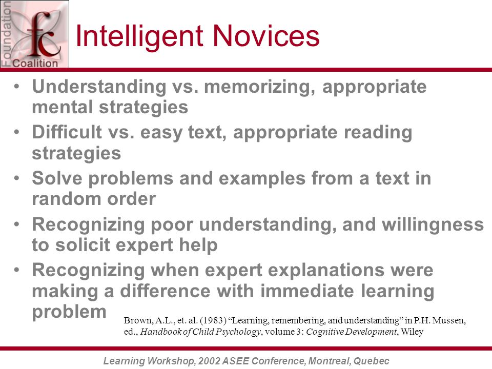 Learning Workshop, 2002 ASEE Conference, Montreal, Quebec Intelligent Novices Understanding vs.