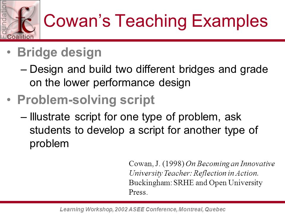 Learning Workshop, 2002 ASEE Conference, Montreal, Quebec Cowan's Teaching Examples Bridge design –Design and build two different bridges and grade on the lower performance design Problem-solving script –Illustrate script for one type of problem, ask students to develop a script for another type of problem Cowan, J.