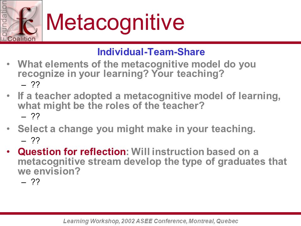 Learning Workshop, 2002 ASEE Conference, Montreal, Quebec Metacognitive Individual-Team-Share What elements of the metacognitive model do you recognize in your learning.
