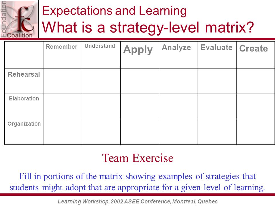 Learning Workshop, 2002 ASEE Conference, Montreal, Quebec Expectations and Learning What is a strategy-level matrix.