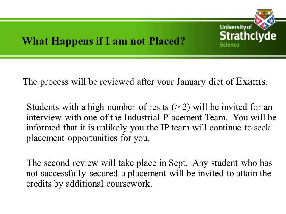 What Happens if I am not Placed. The process will be reviewed after your January diet of Exams.