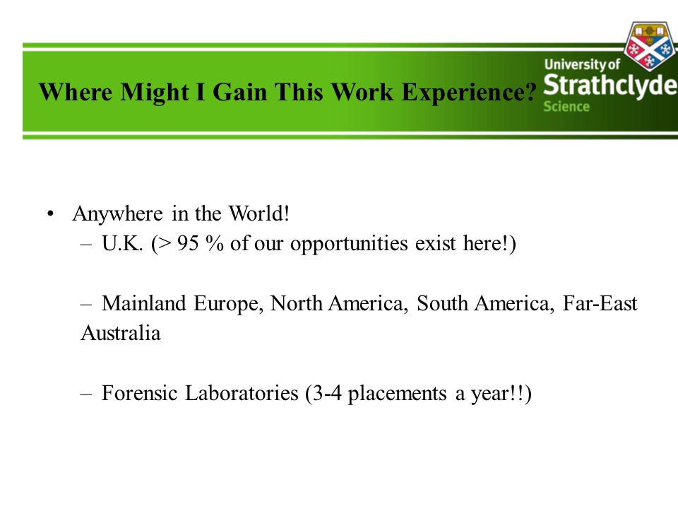 Where Might I Gain This Work Experience. Anywhere in the World.