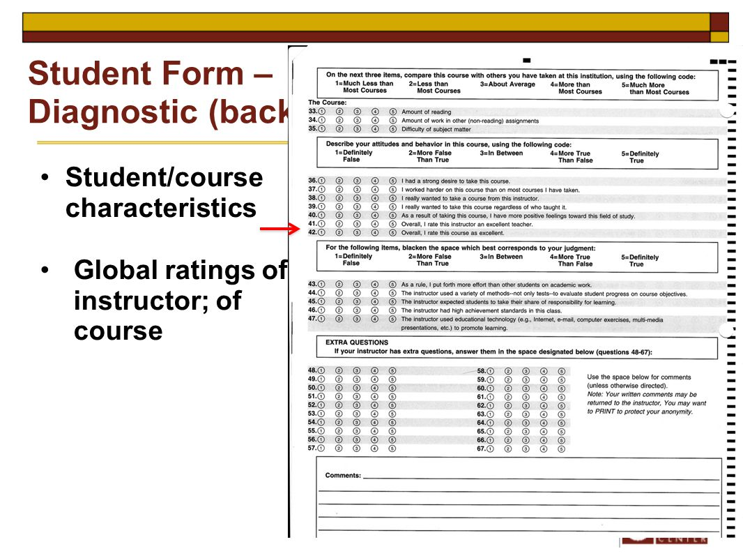 Student/course characteristics Global ratings of instructor; of course Student Form – Diagnostic (back)