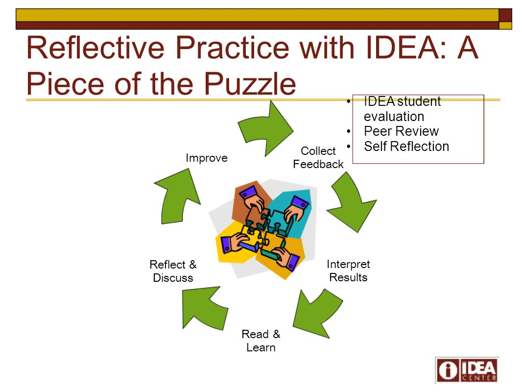 Reflective Practice with IDEA: A Piece of the Puzzle Collect Feedback Interpret Results Read & Learn Reflect & Discuss Improve IDEA student evaluation