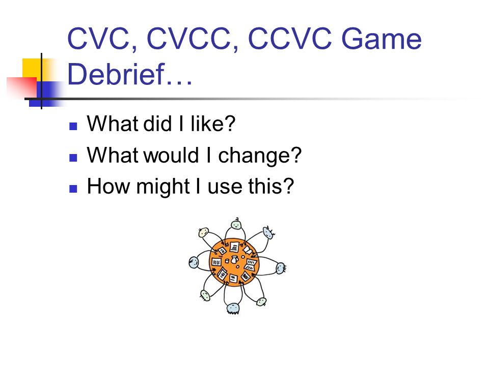 CVC, CVCC, CCVC Game Debrief… What did I like What would I change How might I use this