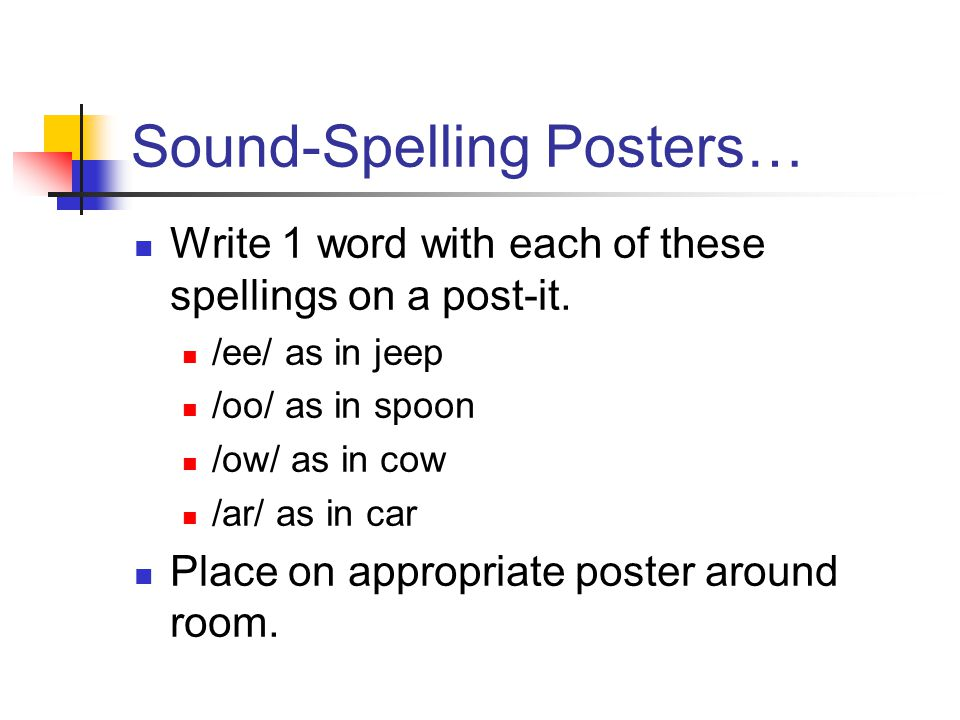 Sound-Spelling Posters… Write 1 word with each of these spellings on a post-it.