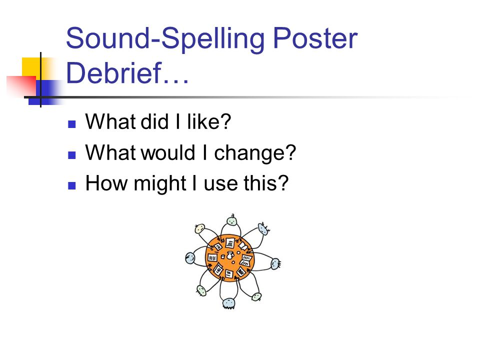Sound-Spelling Poster Debrief… What did I like What would I change How might I use this