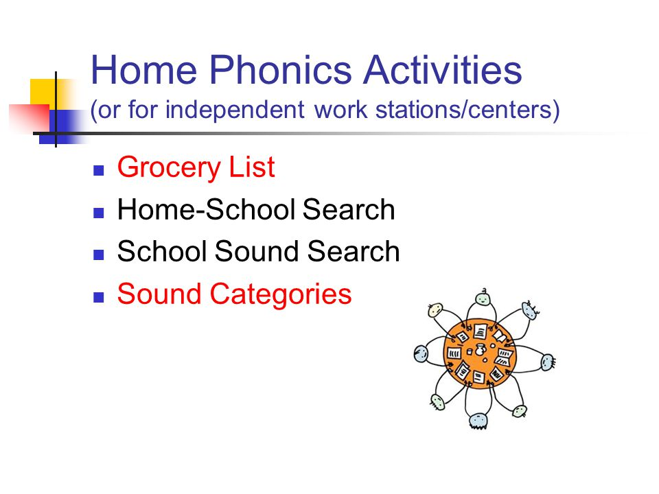 Home Phonics Activities (or for independent work stations/centers) Grocery List Home-School Search School Sound Search Sound Categories