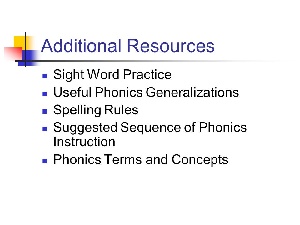 Additional Resources Sight Word Practice Useful Phonics Generalizations Spelling Rules Suggested Sequence of Phonics Instruction Phonics Terms and Concepts