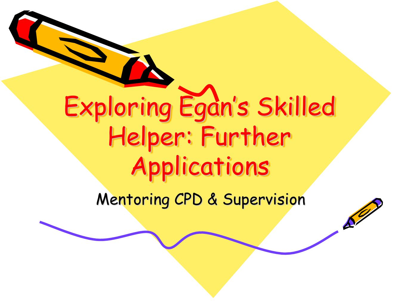 Exploring Egan's Skilled Helper: Further Applications Mentoring CPD & Supervision