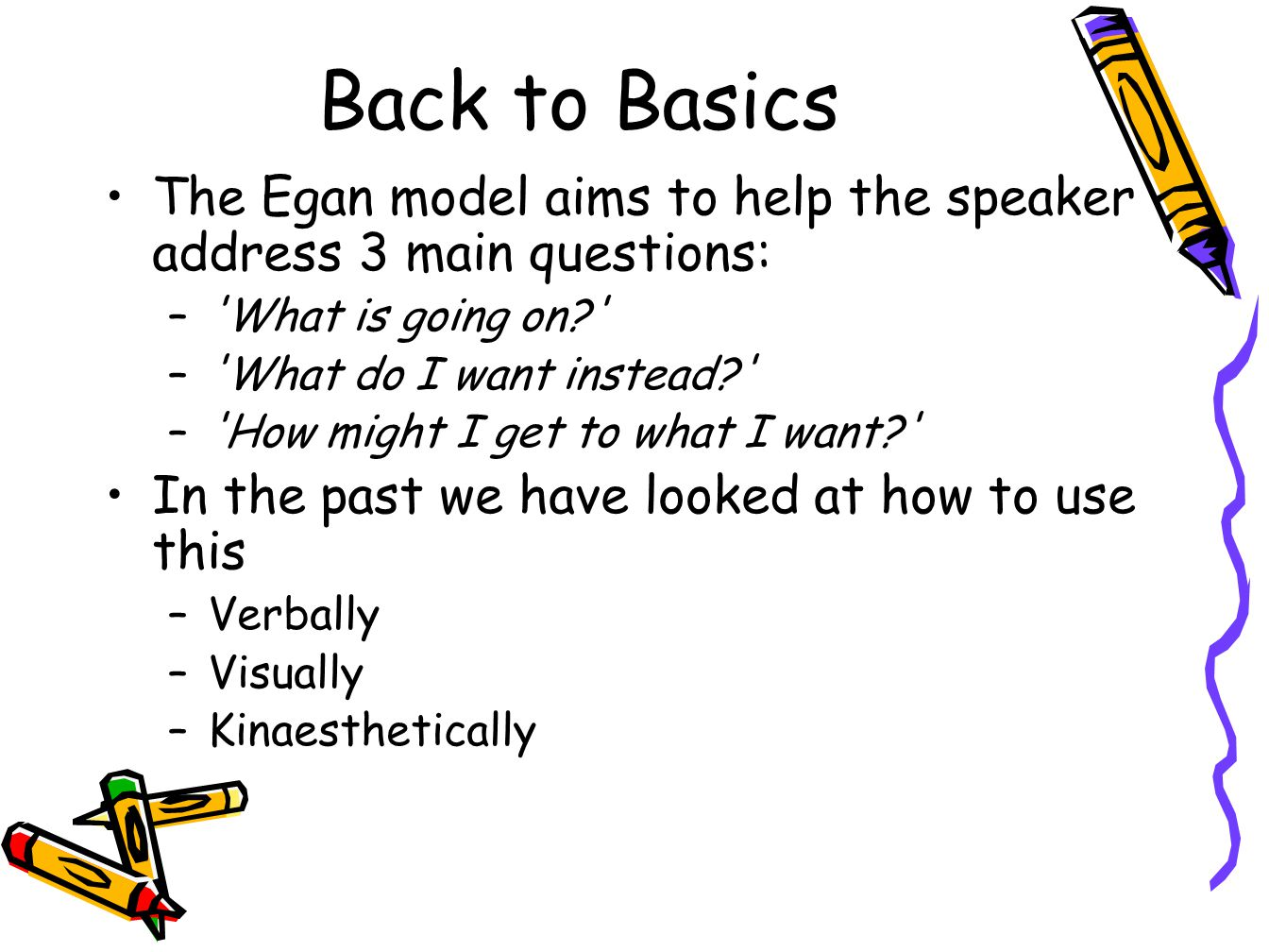 Back to Basics The Egan model aims to help the speaker address 3 main questions: – What is going on? – What do I want instead? – How might I get to what I want? In the past we have looked at how to use this –Verbally –Visually –Kinaesthetically