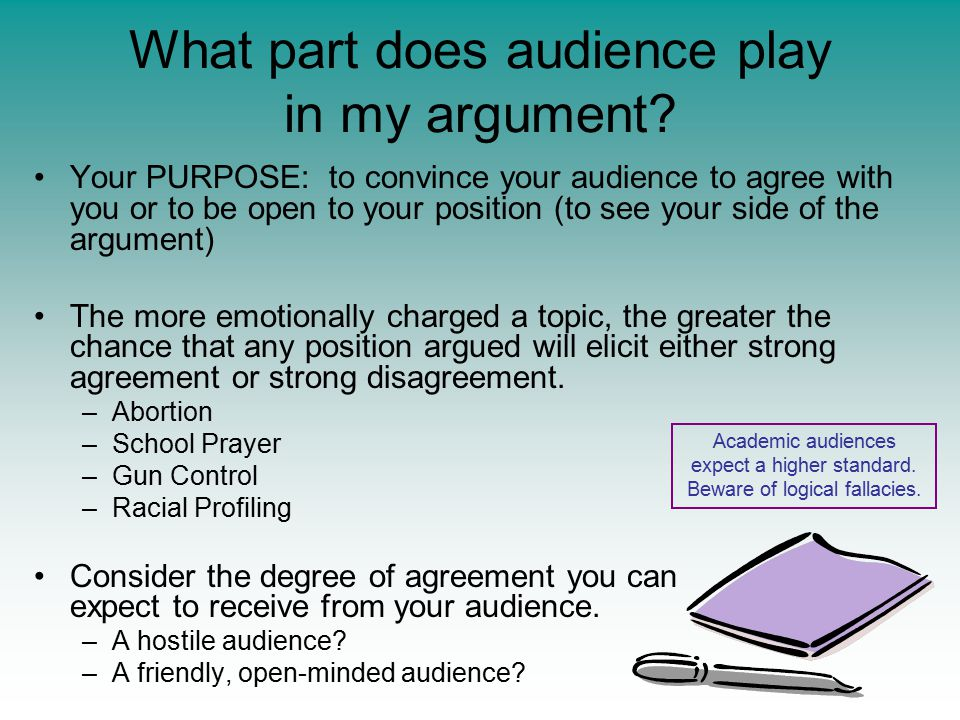 What part does audience play in my argument? Your PURPOSE: to convince your audience to agree with you or to be open to your position (to see your sid