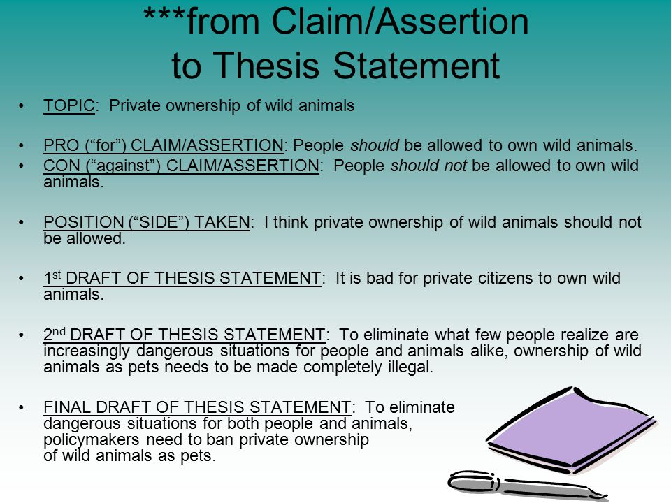 ***from Claim/Assertion to Thesis Statement TOPIC: Private ownership of wild animals PRO ( for ) CLAIM/ASSERTION: People should be allowed to own wild animals.