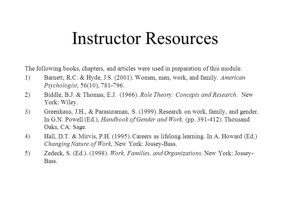 Instructor Resources The following books, chapters, and articles were used in preparation of this module.