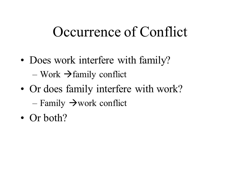 Occurrence of Conflict Does work interfere with family.