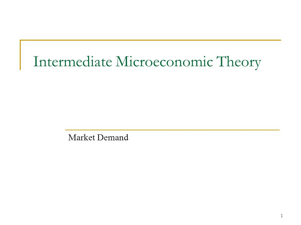 1 Intermediate Microeconomic Theory Market Demand