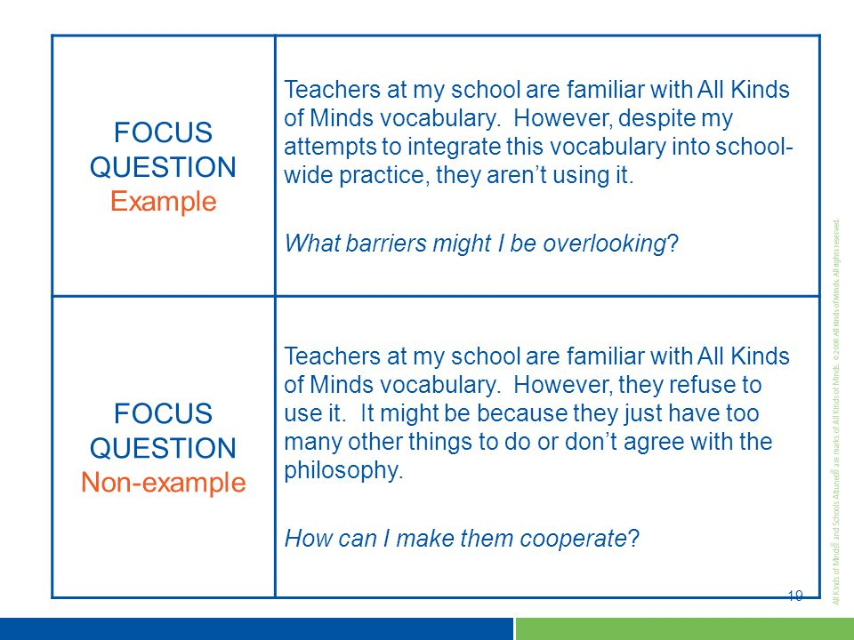 19 FOCUS QUESTION Example Teachers at my school are familiar with All Kinds of Minds vocabulary.