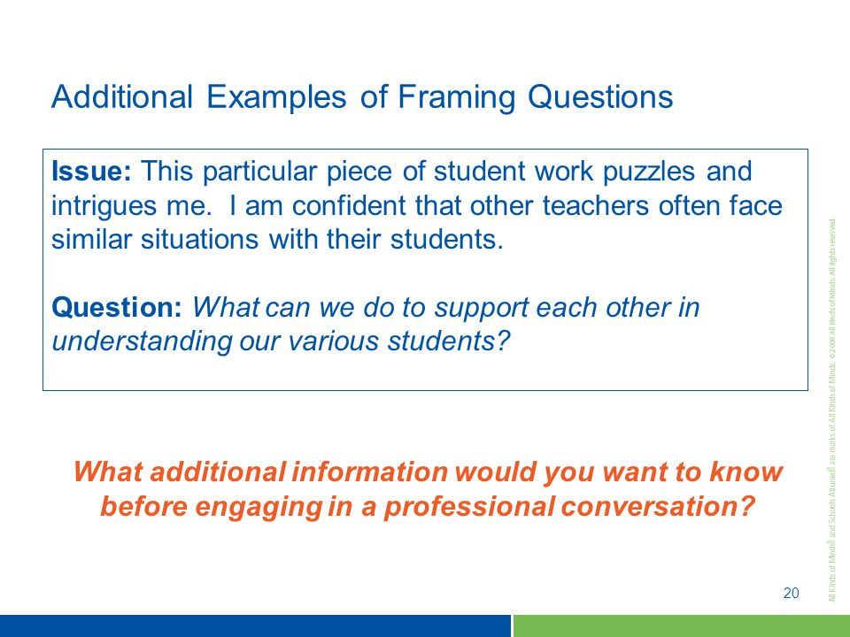 20 Additional Examples of Framing Questions Issue: This particular piece of student work puzzles and intrigues me.