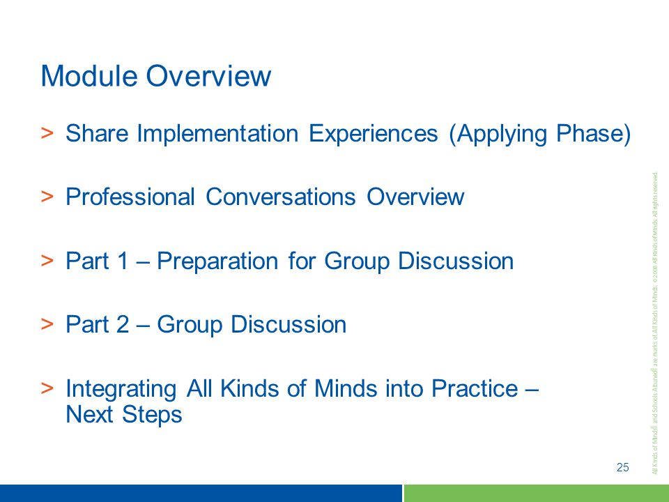 25 Module Overview >Share Implementation Experiences (Applying Phase) >Professional Conversations Overview >Part 1 – Preparation for Group Discussion >Part 2 – Group Discussion >Integrating All Kinds of Minds into Practice – Next Steps