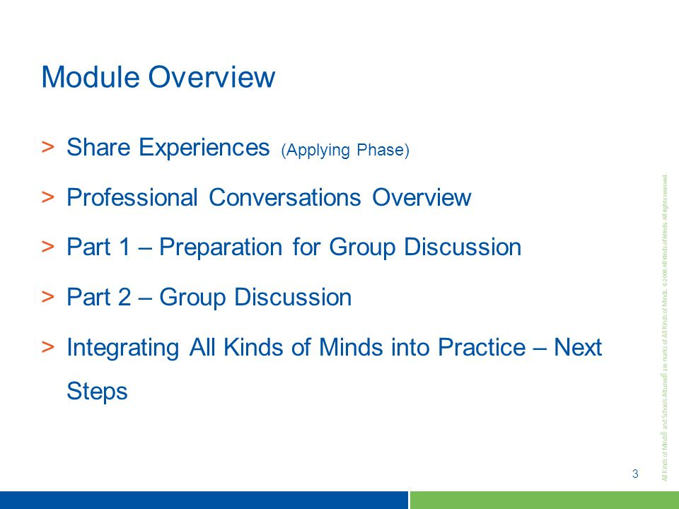 3 Module Overview >Share Experiences (Applying Phase) >Professional Conversations Overview >Part 1 – Preparation for Group Discussion >Part 2 – Group Discussion >Integrating All Kinds of Minds into Practice – Next Steps