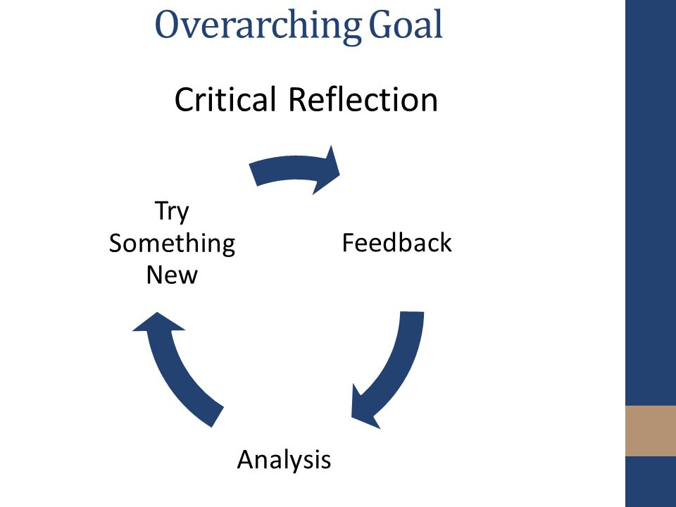 Overarching Goal Feedback Analysis Try Something New Critical Reflection