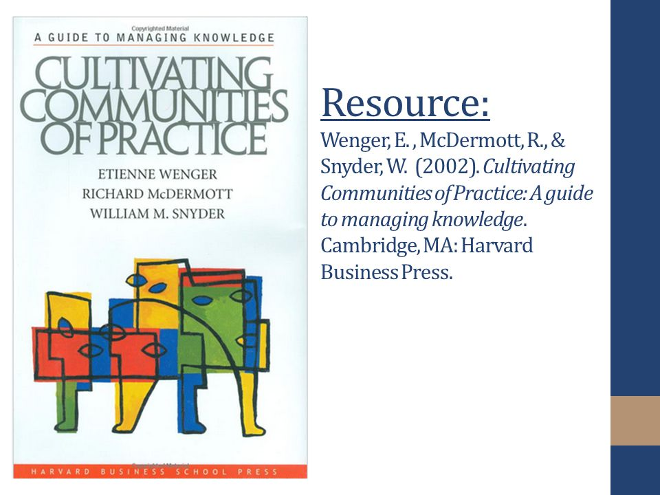 Resource: Wenger, E., McDermott, R., & Snyder, W. (2002).