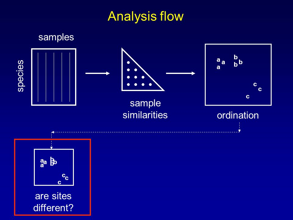 Analysis flow samples species sample similarities a a a b b b c c c ordination a a a b b b c c c are sites different?