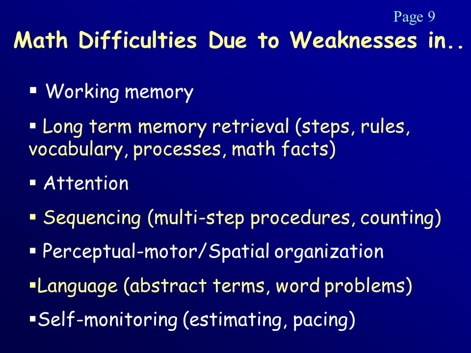 Math Difficulties Due to Weaknesses in..
