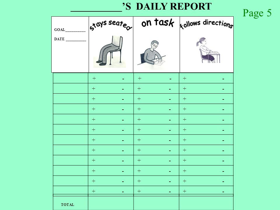 GOAL__________ DATE __________ ___________ 'S DAILY REPORT + - TOTAL handout Page 5