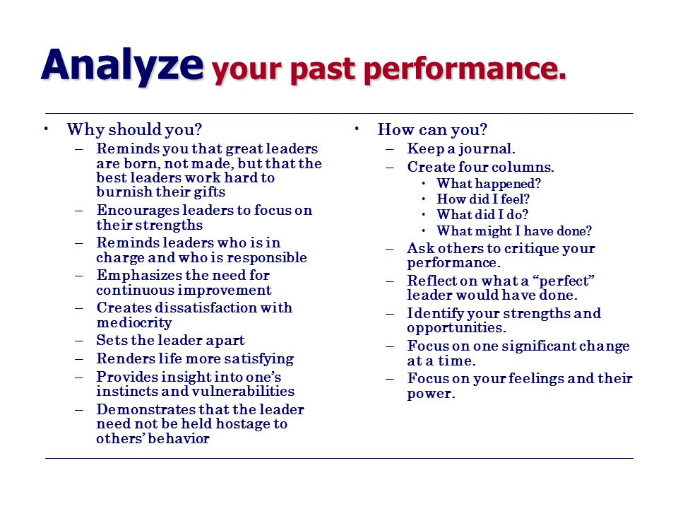 Analyze your past performance. Why should you.