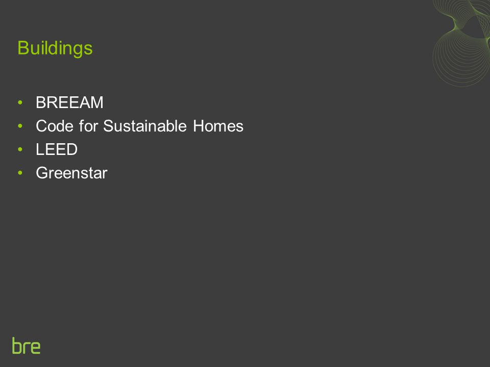 Buildings BREEAM Code for Sustainable Homes LEED Greenstar