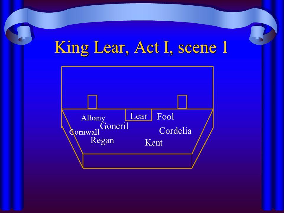 Lear King Lear, Act I, scene 1 Regan Kent Goneril Cordelia Cornwall Albany Fool