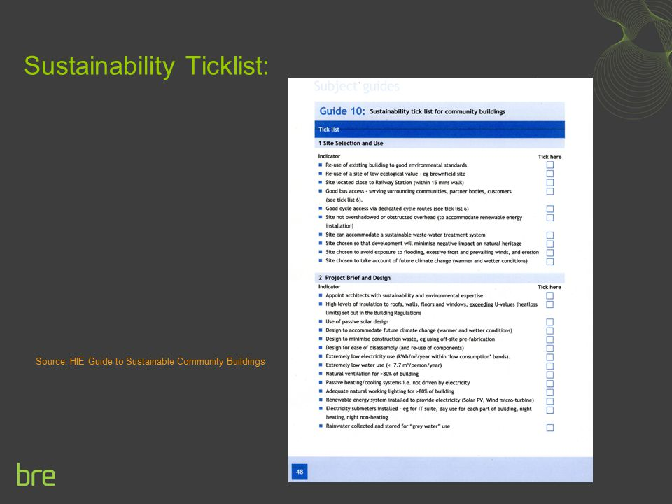 Sustainability Ticklist: Source: HIE Guide to Sustainable Community Buildings
