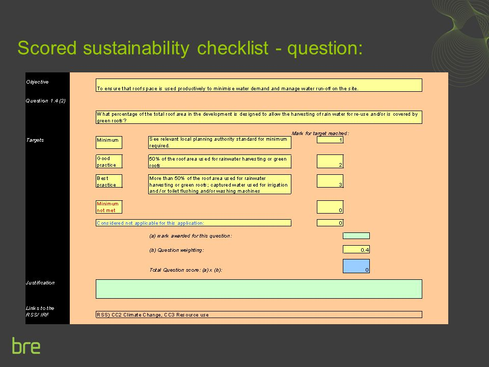 Scored sustainability checklist - question: