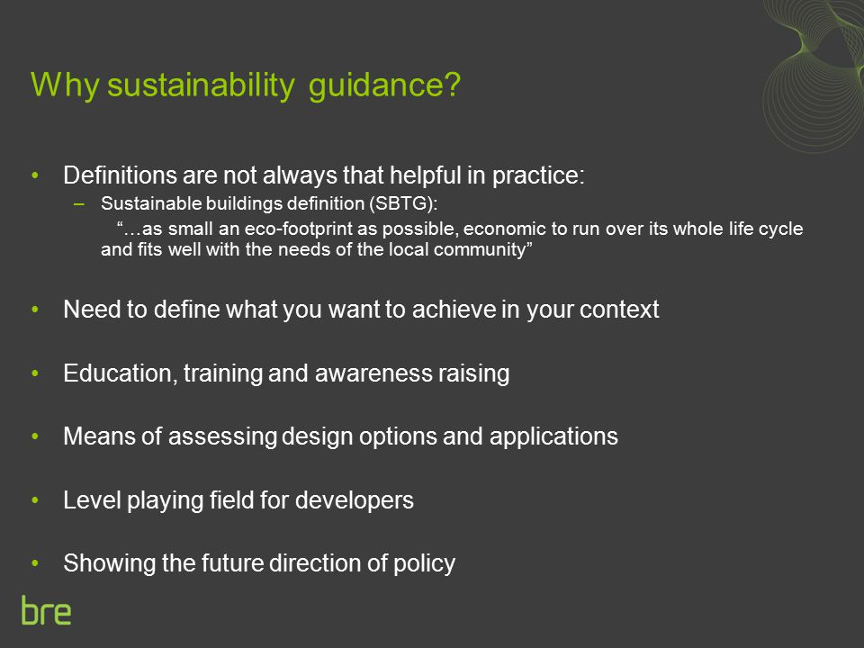 Why sustainability guidance.