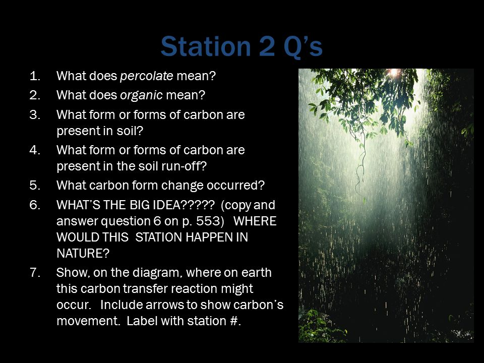 Station 2 Q's 1.What does percolate mean. 2.What does organic mean.