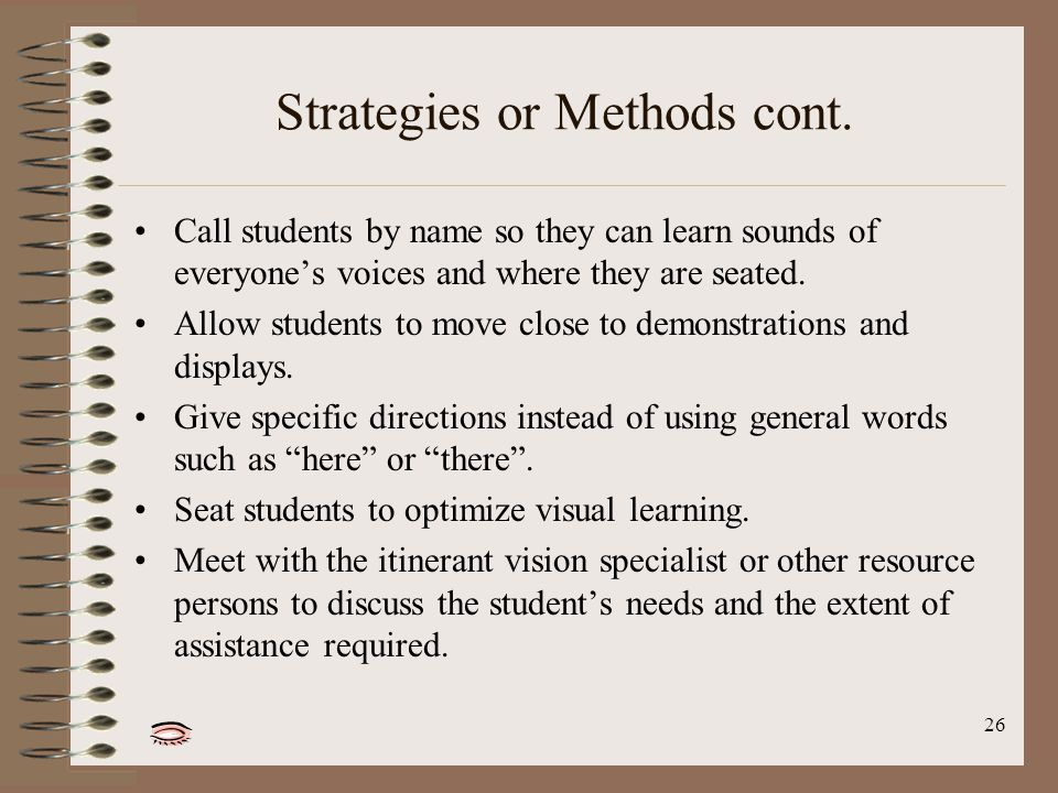 26 Strategies or Methods cont.