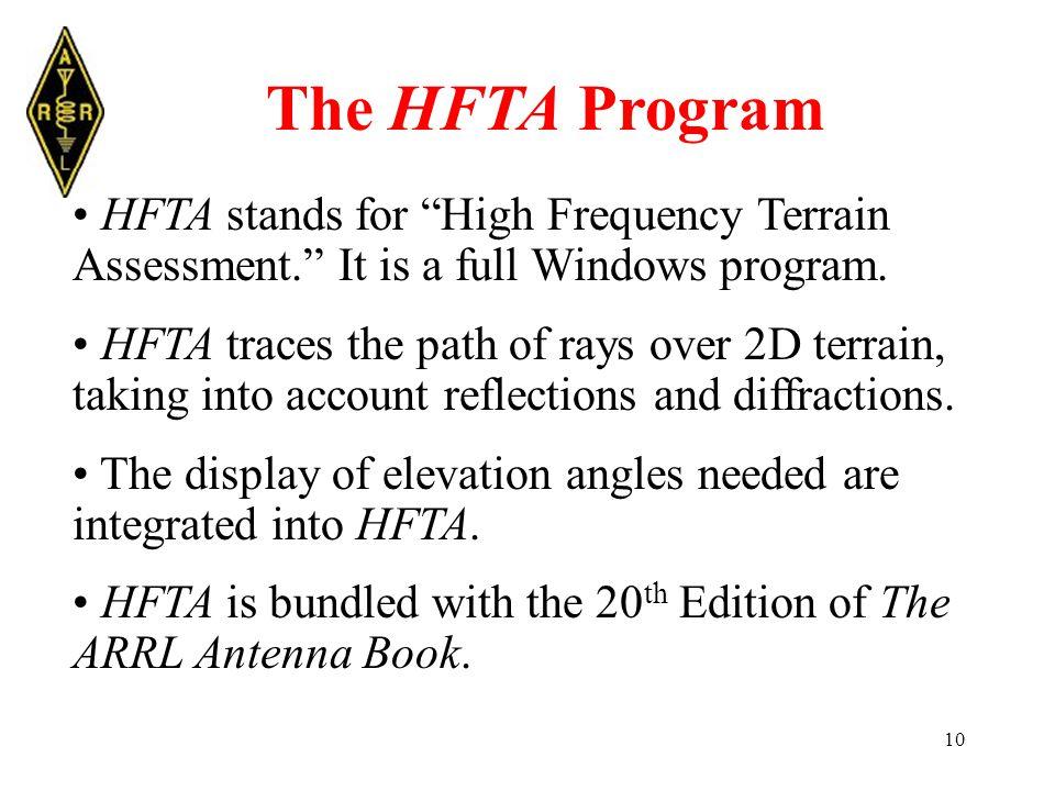 10 The HFTA Program HFTA stands for High Frequency Terrain Assessment. It is a full Windows program.