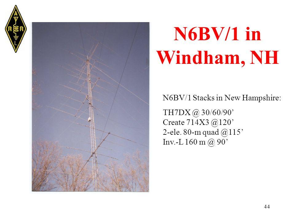 44 N6BV/1 in Windham, NH N6BV/1 Stacks in New Hampshire: TH7DX @ 30/60/90' Create 714X3 @120' 2-ele.